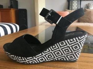 Gabor Sandaletten Wedges Keilabsatz schwarz weiß Muster NEU
