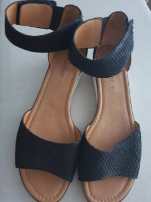 Gabor T-Strap Sandals black-taupe leather