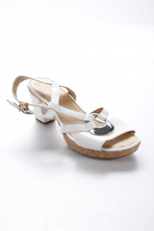 Gabor T-Strap Sandals white-silver-colored simple style