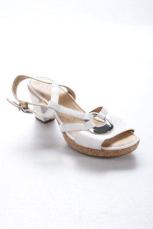 Gabor T-Steg-Sandaletten weiß-silberfarben schlichter Stil