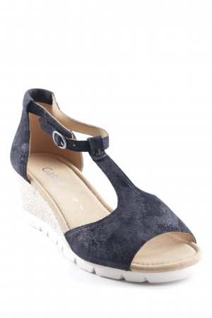Gabor Wedge Sandals dark blue-camel elegant