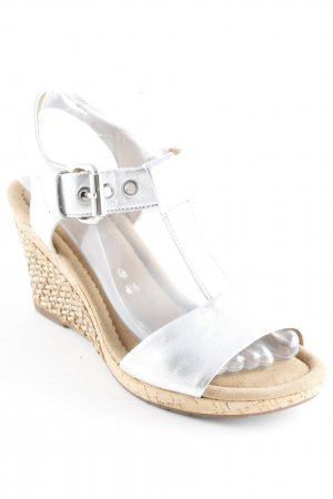 Gabor Wedge Sandals silver-colored-camel metallic look