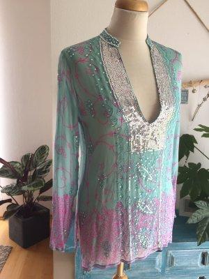 Gabriele Blachnik Zijden blouse babyblauw-roze