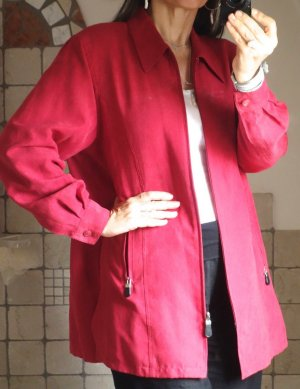 Blouse Jacket dark red-neon red imitation leather