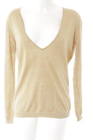 Gabrini V-Ausschnitt-Pullover beige klassischer Stil