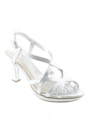 Gadea High Heel Sandal silver-colored herringbone pattern wet-look