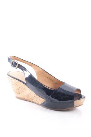 Gadea Wedges Sandaletten dunkelblau Lack-Optik