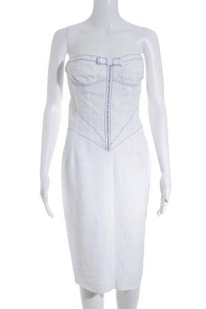 gai mattiolo Vestido bandeau blanco puro-negro estampado gráfico elegante