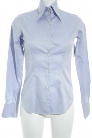 Galizia Trendy Langarmhemd hellblau Zackenmuster Business-Look