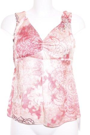 Galliano Mouwloze blouse roze-lichtroze bloemen patroon casual uitstraling