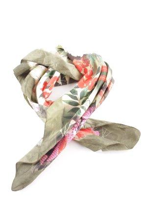 Galliano Foulard kaki-rose motif de fleur style décontracté