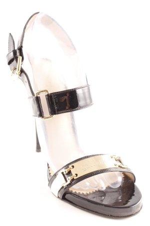 Galliano High Heel Sandaletten schwarz-goldfarben Business-Look