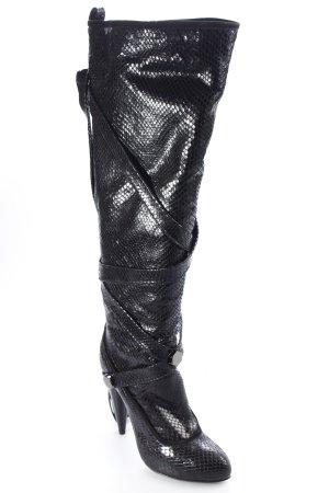 Galliano High Heel Stiefel schwarz Glanz-Optik