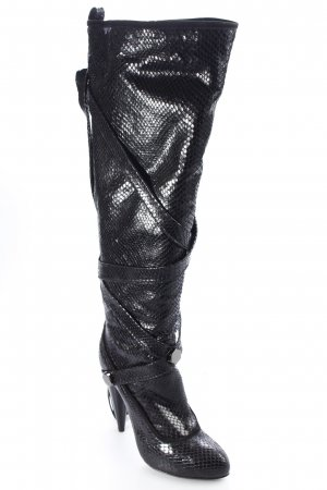 Galliano High Heel Stiefel schwarz Glanz-Optik