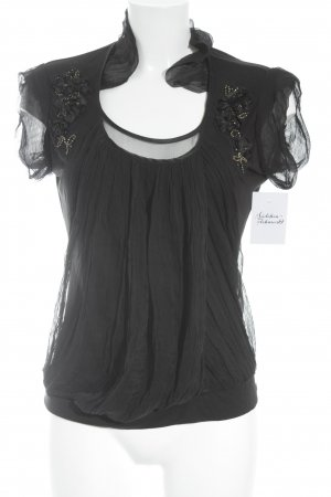 Galliano Short Sleeved Blouse black-gold-colored elegant