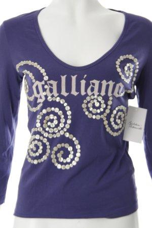 Galliano Longsleeve blauviolett Logoprint