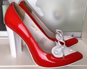 * GALLIANO * NEU ! HIGH HEEL PUMPS LACK LEDER spitz rot weiß Gr 41