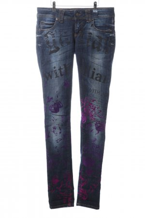 Galliano Skinny Jeans abstraktes Muster Casual-Look
