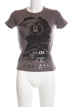 Galliano T-Shirt braun-silberfarben Motivdruck Casual-Look