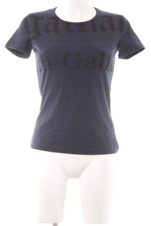 Galliano T-Shirt dunkelblau-schwarz Allover-Druck Casual-Look