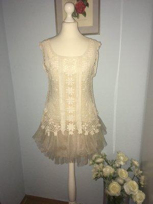 Vestido de cóctel crema
