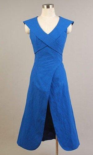 Geklede jurk blauw-staalblauw