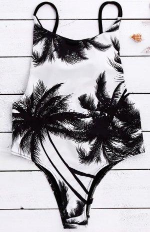 Gamiss Badeanzug Swimsuit Einteiler Coconut Tree Print Rückenfrei Palmen