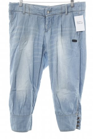 Gang Pantalon 7/8 bleu azur-blanc style décontracté