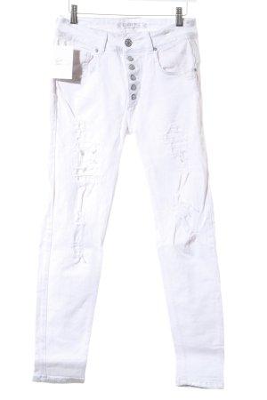 Gang Jeans de moto blanc-argenté Look de motard