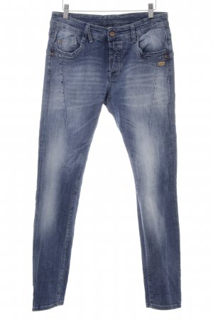 Gang Boyfriendjeans stahlblau-kornblumenblau Washed-Optik
