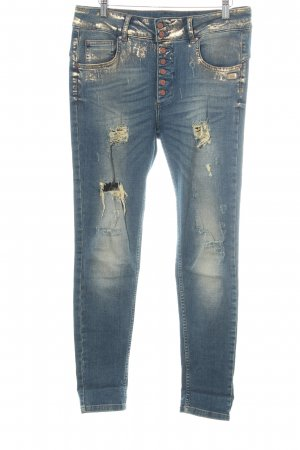 Gang High Waist Jeans stahlblau Destroy-Optik