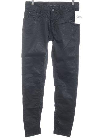 Gang Pantalón de tubo negro look efecto mojado