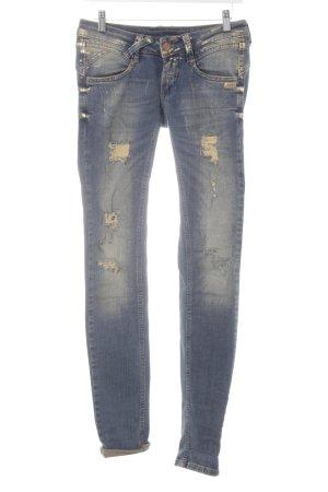 Gang Skinny Jeans goldfarben-dunkelblau Destroy-Optik
