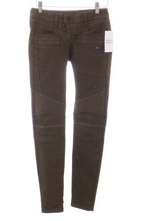 Gang Skinny Jeans khaki Biker-Look