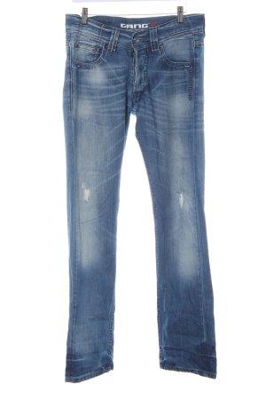 Gang Straight-Leg Jeans dunkelblau Farbverlauf Dandy-Look