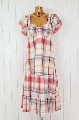 GANJANA Damen Kleid Sommerkleid Kariert Rot Orange Türkis Gr.ca.38
