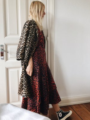 GANNI Bijou leopard-print cotton-poplin wrap dress 36 Wickelkleid Leo Maxi-Dress