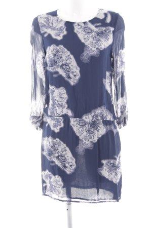 Ganni Chiffonkleid blau-weiß abstraktes Muster Elegant
