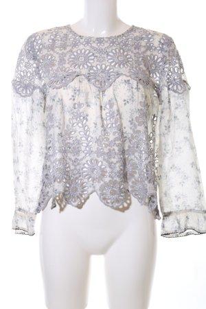 Ganni Cropped Shirt weiß-hellgrau Allover-Druck Casual-Look
