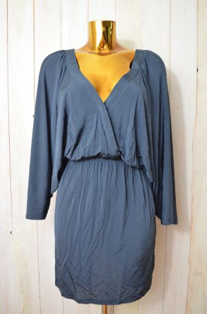 GANNI Damen Kleid Hängerchen V-Ausschnitt Blau Viskose Elastan Stretch Gr.M