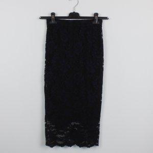 Ganni High Waist Bleistiftrock Gr. S Spitze schwarz dunkelblau (18/11/005/R/K)