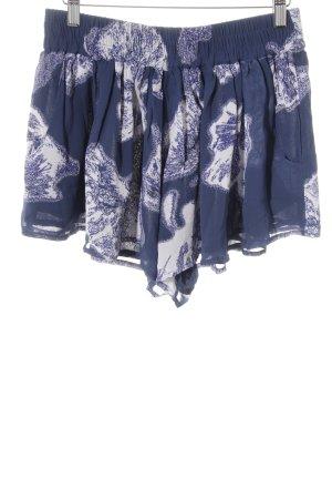 Ganni High-Waist-Shorts weiß-blau florales Muster Casual-Look