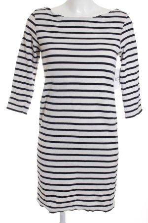 Ganni Jerseykleid weiß-schwarz Streifenmuster Casual-Look