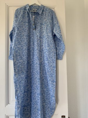 Ganni Kaftan Baumwollkleid Maxikleid Sage Shirt Dress 36 Blau Blumenkleid Hemdblusenkleid