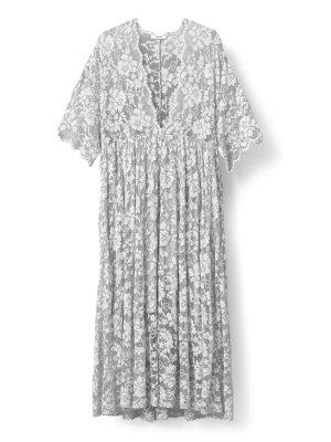 GANNI Kleid - Ayame Lace Midi Dress grey/grau