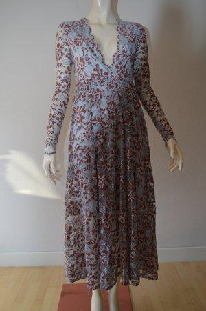 Ganni Kleid, Gr. 34, Spitze, hellblau, rostrot, Blumen, NP 300€