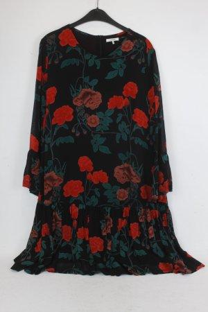 Ganni Kleid Gr. 42 schwarz rot Rosen