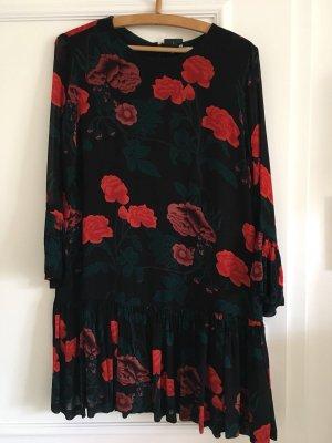 GANNI Kleid schwarz mit rosenprint NEU 36