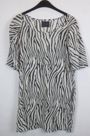 Ganni Kleid Shirtkleid Gr. 34 schwarz/hellbeige Zebra Print (18/3/129)