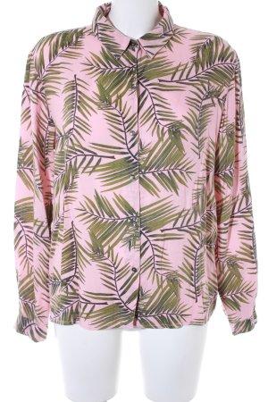 Ganni Langarm-Bluse altrosa-dunkelgrün florales Muster Boho-Look